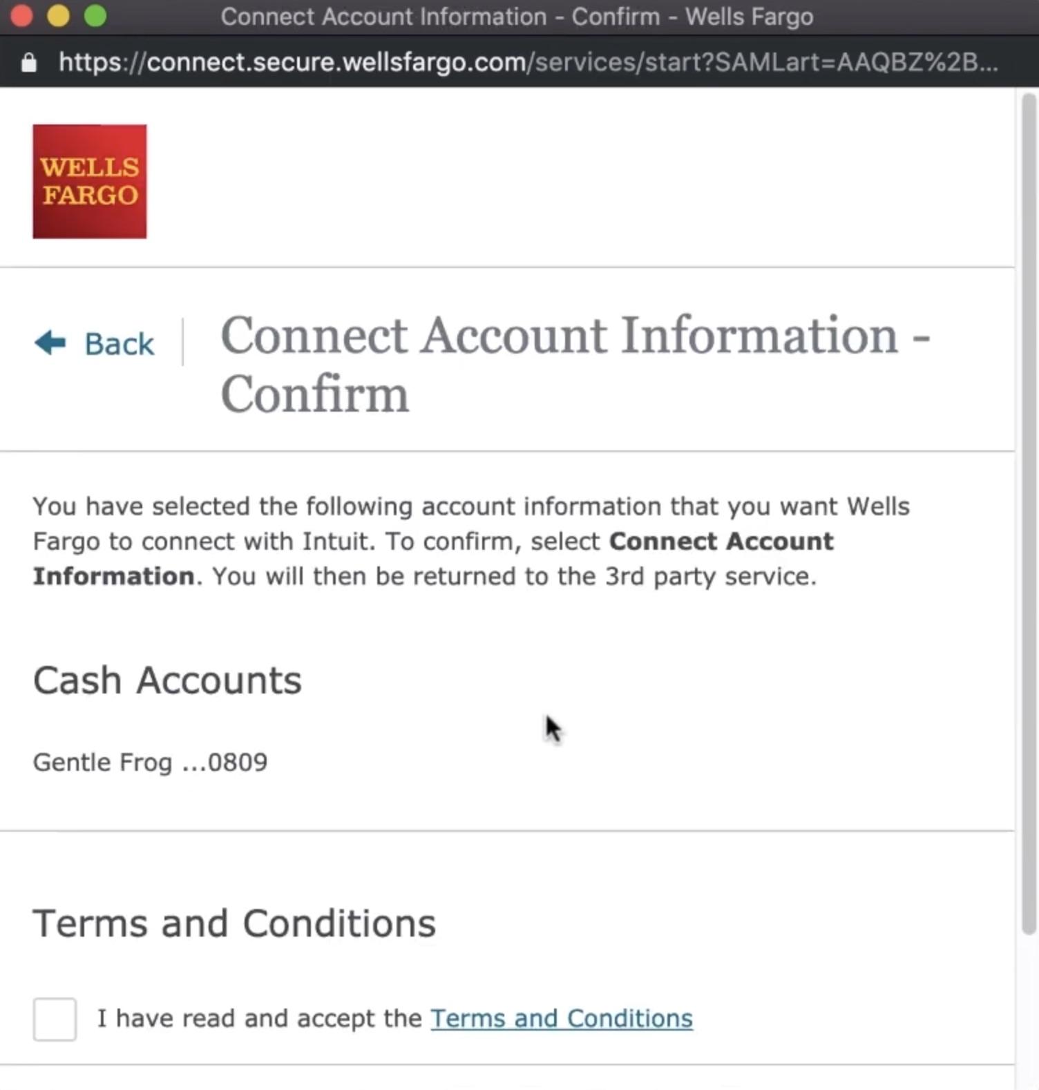 Connecting Wells Fargo to Quickbooks Online