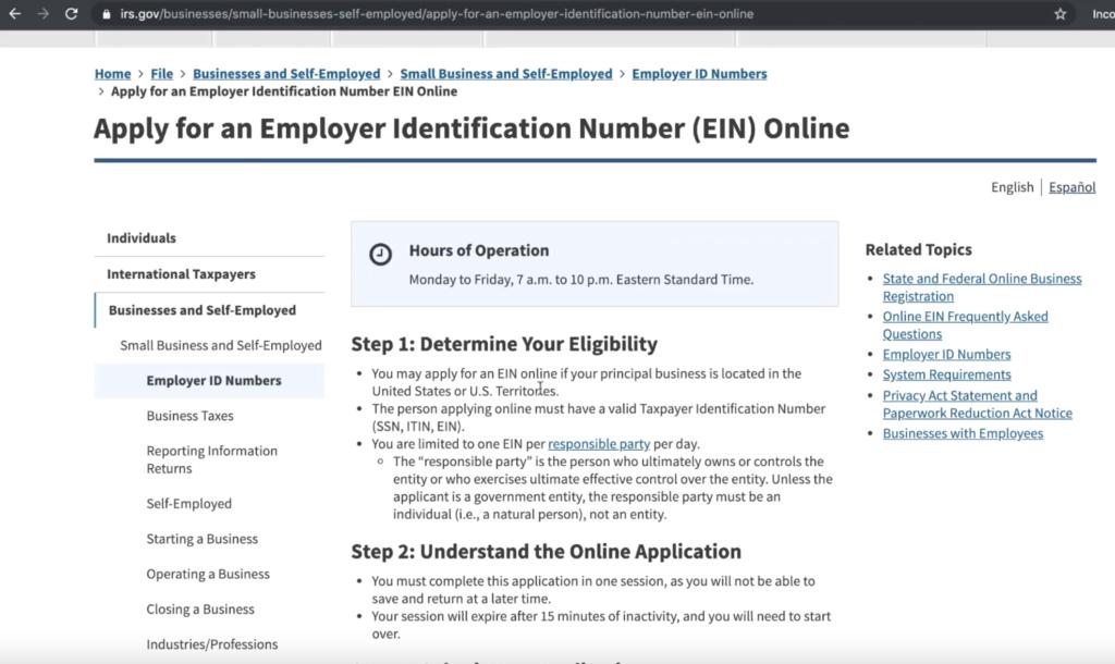Apply for employer EIN