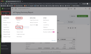 Paying a bill from the quick create menu in QuickBooks Online