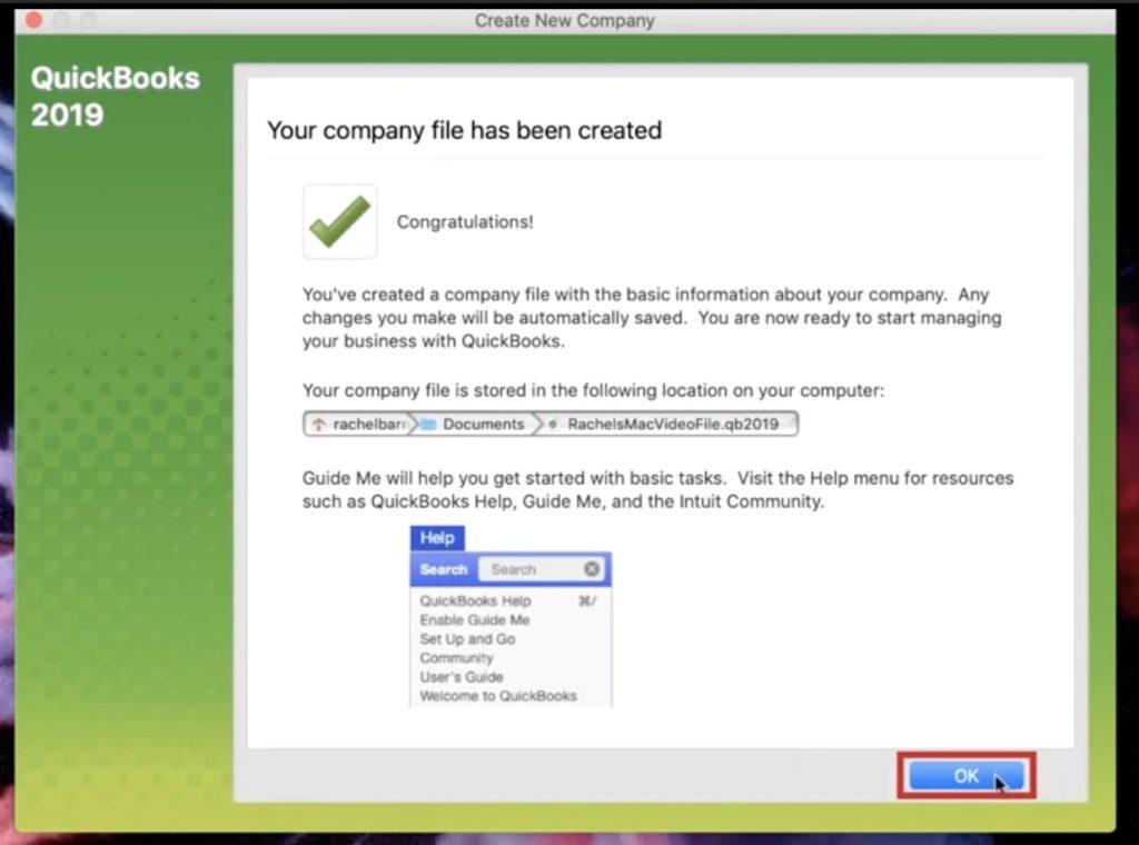 Finishing creating your new Quickbooks file