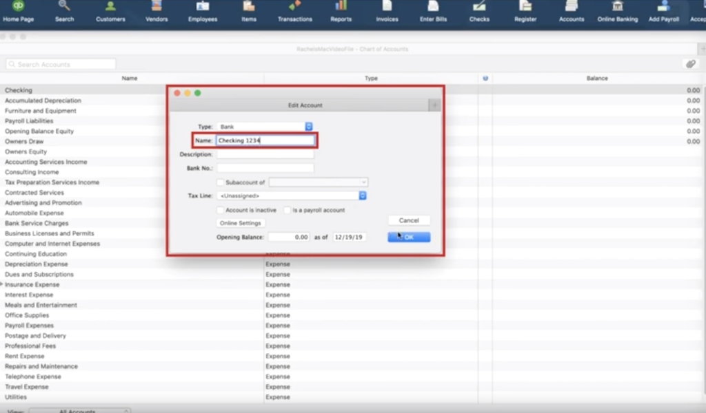 Changing account name in Quickbooks Desktop