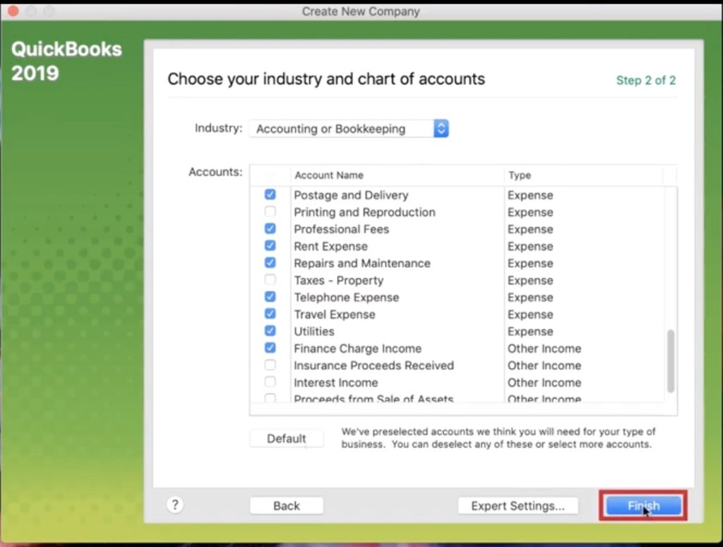 Selecting types of accounts in Quickbooks 2019