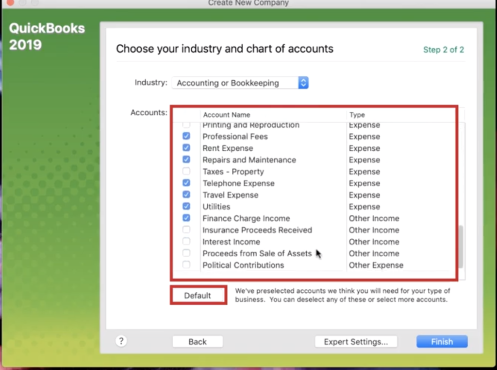 Checking off accounts in Quickbooks 2019