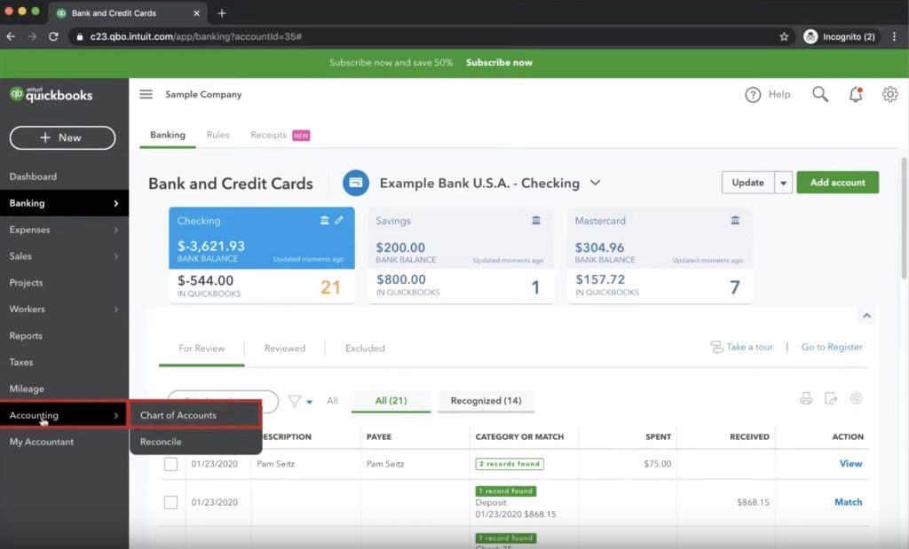 Navigating to the Chart of Accounts in Quickbooks