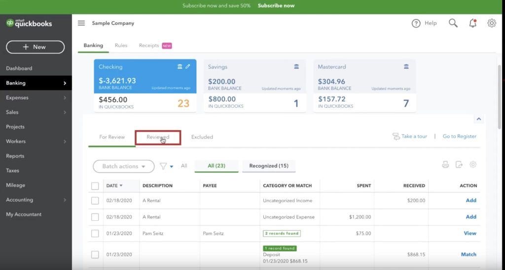 Reviewed tab in Quickbooks