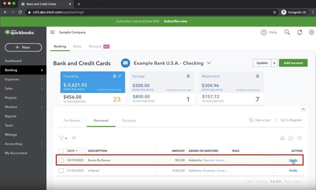 Undo a transaction in Quickbooks
