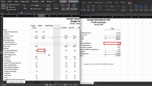 Adding Profit and Loss data to our Budget comparison spreadsheet in Excel.