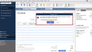 Available Credit pop-up in Quickbooks Desktop
