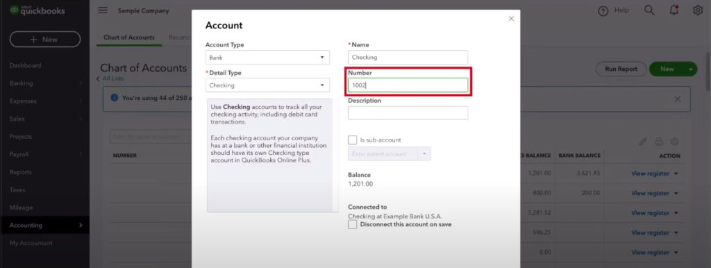 Quickbooks adding a number to an account