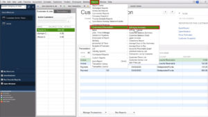Navigating to the A/R Aging Summary report in the menu in Quickbooks Desktop