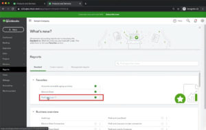 Navigating to the Profit and Loss report in QuickBooks Online.