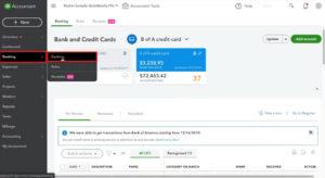Banking Menu in QuickBooks Online