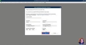 Reset QuickBooks Administration Password page