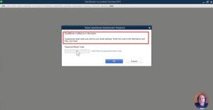 Password reset code message in QuickBooks Desktop.