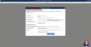 QuickBooks Desktop Change Your Password screen