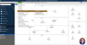 Selecting menu option for updating user password in QuickBooks Desktop