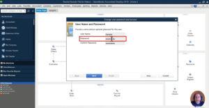 Enter a new password for user in QuickBooks Desktop