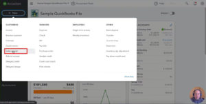 Creating a new Sales Receipt from the main menu in QuickBooks