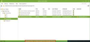 Qbox showing progress of file sync.