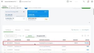 For Review transactions in QuickBooks Online