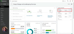 QuickBooks Online dashboard Bank Accounts