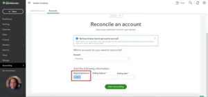 Entering the beginning balance when reconciling a bank account in Quickbooks Online