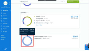 Viewing unbilled time by client in Freshbooks on the dashboard.