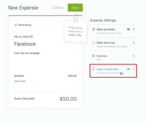 FreshBooks Expense Settings - Cost of Goods Sold