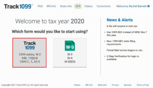 Selecting the 1099 form in Track1099