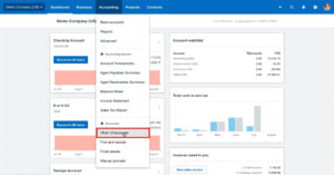 Navigating to the Chart of Accounts from the main menu in Xero