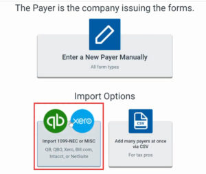 Import payer option in Track1099