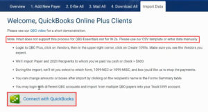 Connecting QuickBooks to Track1099