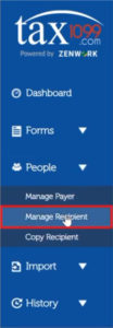 Add recipient in Tax1099 by clicking Manage Recipient in the left-hand menu
