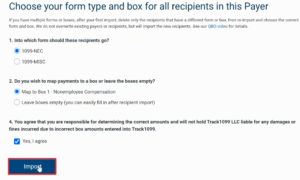 Choosing form type when importing in Track1099