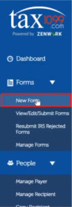 Creating a new 1099 form in Tax1099