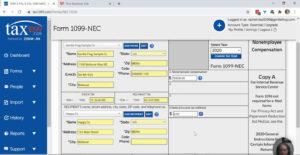 Entering 1099-NEC data in Tax1099.
