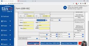 Saving a 1099-NEC in Tax1099
