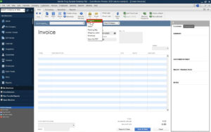 Selecting Print preview for an invoice in QuickBooks Premier.