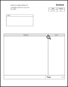Print preview of the invoice template in QuickBooks Premier.