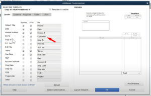 Editing a Title in the invoice customization in QuickBooks Premier.