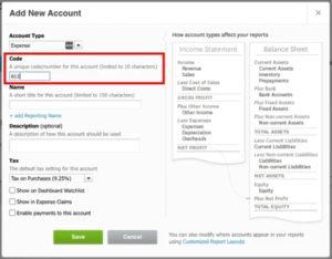 Entering account Code in Xero.