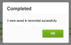 Completed reconciling pop-up when using Cash Coding in Xero